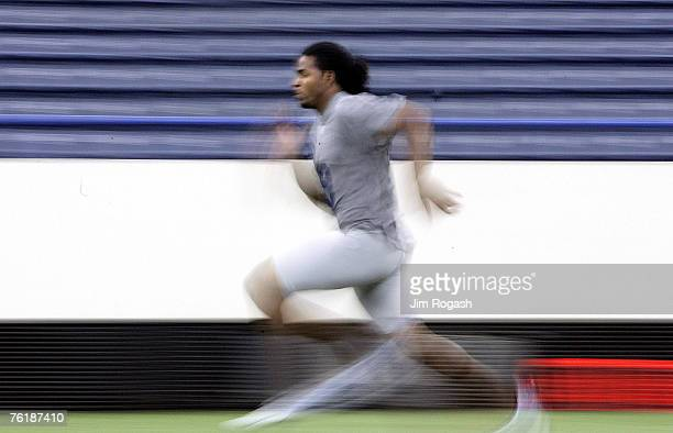 Bowling Green quarterback Omar Jacobs is timed in the 40yard dash during the NFL Scouting Combine Sunday February 26 in Indianapolis Indiana