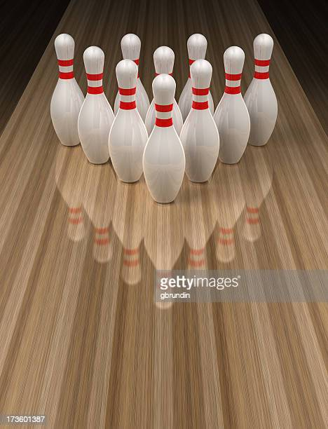 Bowling pins on wooden bowling alley