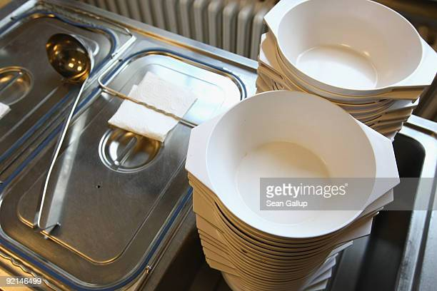 Bowls and hot soup await visitors at a soup kitchen of the Malteser charity part of the Order of Malta Worldwide Relief on October 21 2009 in Berlin...