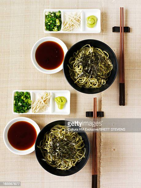 bowls of chasoba noodles - wasabi paste stock pictures, royalty-free photos & images