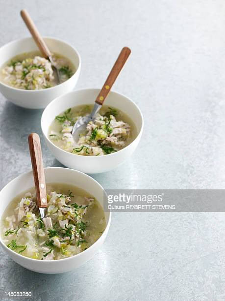 Bowls of chicken and rice soup