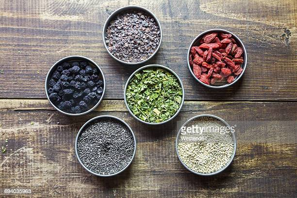 bowls of chokeberries, chia, cocoa, quinoa, moringa and wolfberries - moringa tree stock photos and pictures