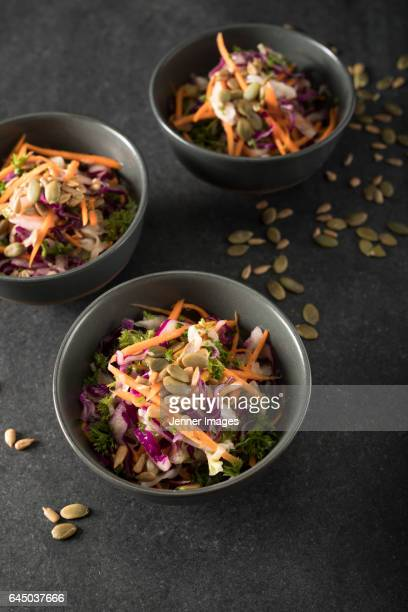 3 bowls of fresh salad. - black seed oil stock pictures, royalty-free photos & images