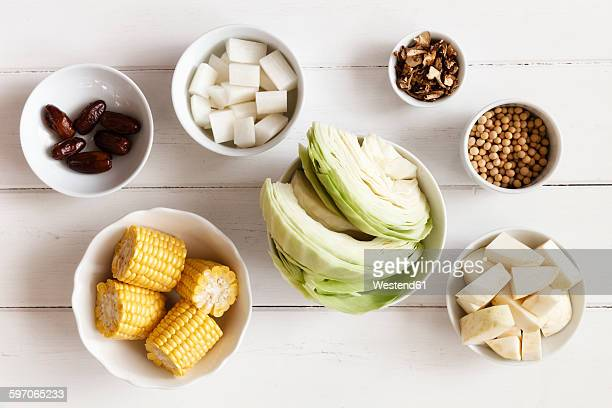 Bowls of ingredients of Chinese vegetable stock
