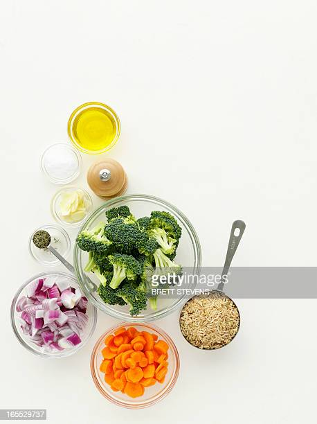 bowls of vegetables and spices - measuring cup stock pictures, royalty-free photos & images