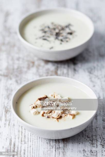 Bowls of Vichyssoise cream