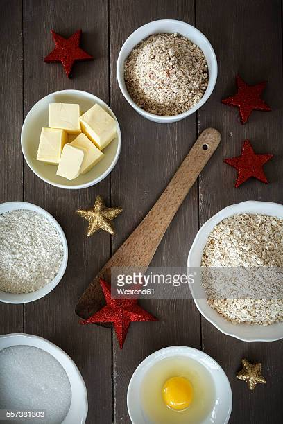 Bowls with baking ingredients at Christmas time