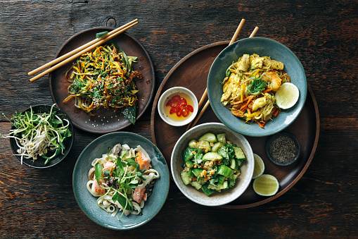 Bowls with Japanese food 1041774042