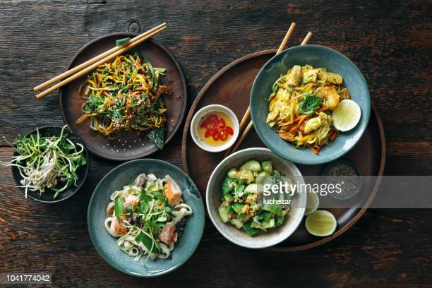 bowls with japanese food - chinese culture stock pictures, royalty-free photos & images