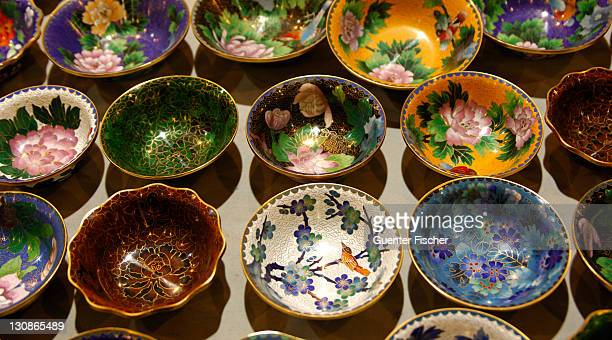 Bowls with traditional decoration, Cloisonné handicraft, China
