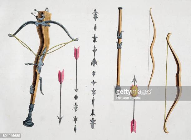 Bows and arrows from the 14th15th century 1842 Plate from A History of the Development and Customs of Chivalry by Dr Franz Kottenkamp 1842 Artist...