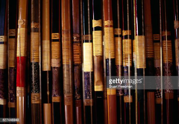 Bows at the workshop of master bowmaker Chibata Kanjuro Kyudo is a modern Japanese martial art derived from ancient Samurai archery and heavily...