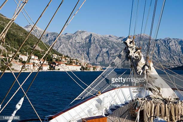 Bowsprit of sailing cruiseship Royal Clipper, in Kotor Fjord.