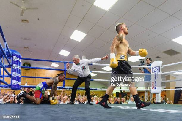 Bowyn Morgan reacts after knocking down Stevie Ongen Ferdinandus during their Boxing IBO Asia Pacific Welterweight Belt Fight on December 8 2017 in...