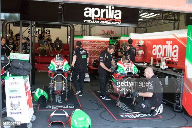 Box Aprilia during Race MotoGP at the Mugello International Cuircuit for the sixth round of MotoGP World Championship Gran Premio d'Italia Oakley on...