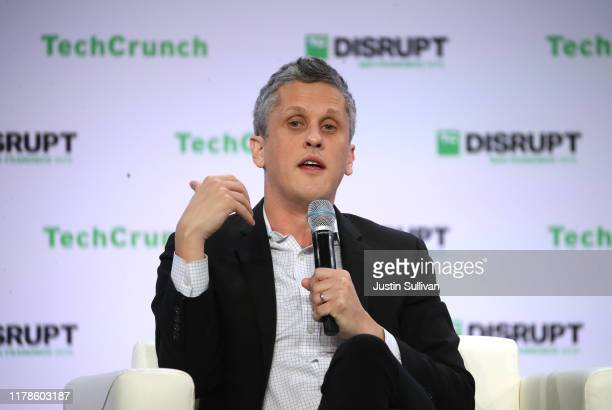 Box co-founder and CEO Aaron Levie, speaks during the TechCrunch Disrupt SF 2019 conference at Moscone Center on October 02, 2019 in San Francisco,...