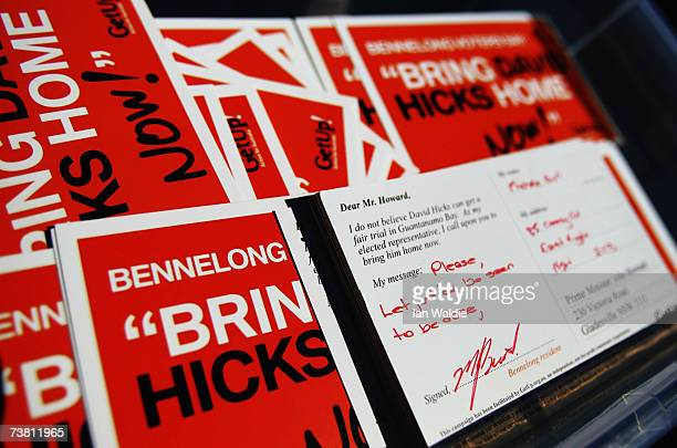 A box containing some of a collection of over 10000 protest postcards in support of David Hicks is delivered to the office of Australian Prime...