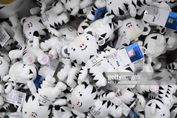 A box containing the Pyeongchang Winter Olympic Games mascot a white tiger named Soohorang are displayed prior to the official opening of the...