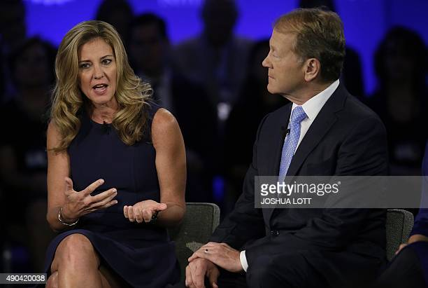 Box Founder and Senior Vice President of Industry Karen Appleton speaks as Cisco Executive Chairman of the Board John Chambers looks on during the...