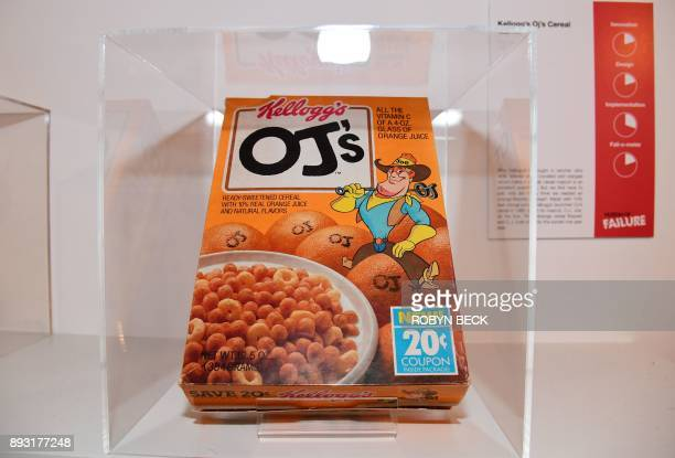 A box from Kellogg's OJ's orangeflavored breakfast cereal is displayed at The Museum of Failure in Los Angeles on December 7 2017 The Museum of...