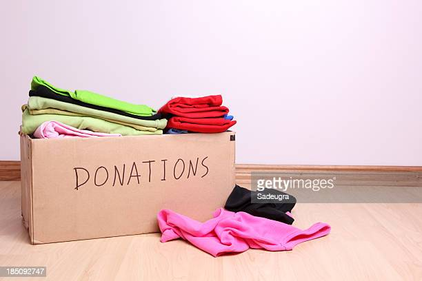 Box full of clothes for donation