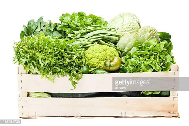 a box full of various green vegetables  - lettuce stockfoto's en -beelden