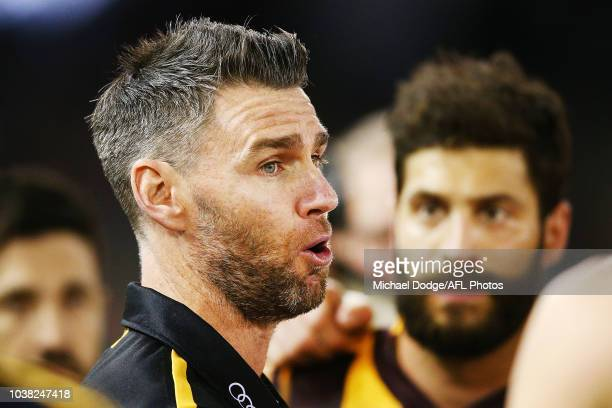 Box Hill coach Chris Newman speaks to his players at three quarter time during the VFL Grand Final match between Casey and Box Hill at Etihad Stadium...
