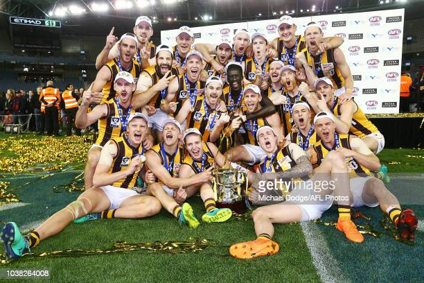 Box Hill hawks players celebrates the win during the VFL Grand Final match between Casey and Box Hill at Etihad Stadium on September 23 2018 in...