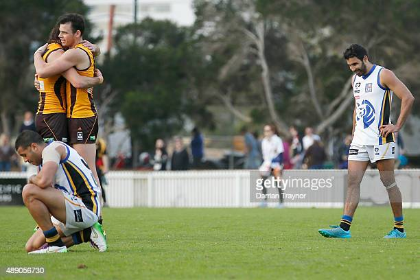 Box Hill Players celebrate on the final siren after the VFL Preliminary Final match between Box Hill Hawks and Sandringham at North Port Oval on...