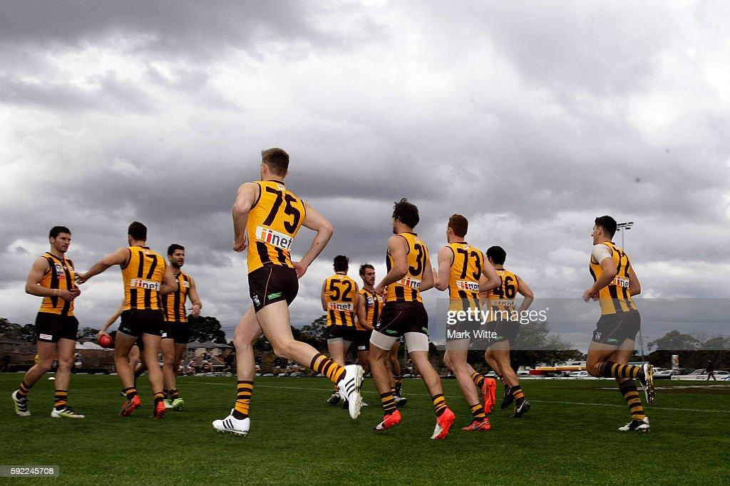 Box Hill run out before the round 20 VFL match between the Box Hill Hawks and the Collingwood Magpies at Box Hill City Oval on August 20, 2016 in Melbourne, Australia.