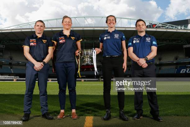 The VFLW Premiership Cup is seen during a VFL and VFLW Grand Final press conference at Ikon Park on September 19 2018 in Melbourne Australia