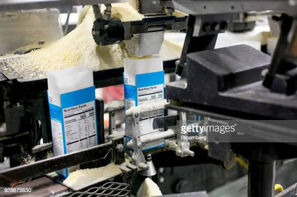 A box is filled with Jiffy cornbread mix at the Chelsea Milling Co Jiffy Mix production facility in Chelsea Michigan US on Friday Feb 26 2018 The US...