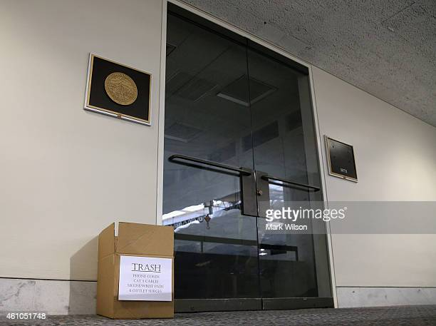 A box marked trash sits in front of retired US Senator Tom Harkin's office inside the Hart Senate Office Building January 5 2015 in Washington DC...