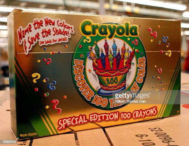 A box of 100th Anniversary Crayola crayons is seen at Binney and Smith Inc the manufacturer of Crayola crayons June 18 2003 in Easton Pennsylvania...