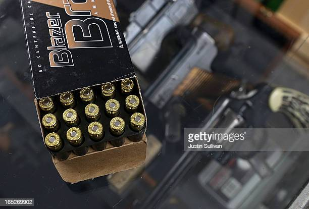 A box of 9mm bullets sits on the counter at Sportsmans Arms on April 2 2013 in Petaluma California In the wake of the Newtown Connecticut school...