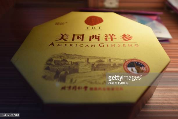 A box of 'American Ginseng' is seen in a display case at a pharmacy in Beijing on April 4 one of the US products China has already imposed tariffs on...