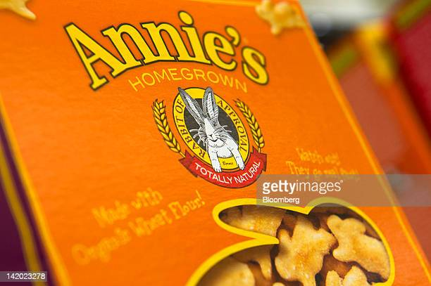 A box of Annie's Inc crackers is arranged for a photograph at the company's corporate headquarters in Berkeley California US on Wednesday March 28...