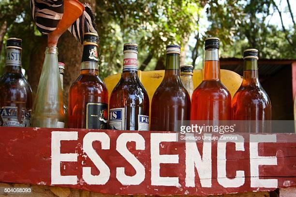 Box of bottled gasoline for sale, Tiébélé, Nahouri Province, Burkina Faso, Africa