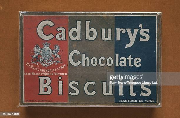 A box of Cadbury's Chocolate Biscuits circa 1905 They are 'By Appointment to her Late Majesty Queen Victoria'