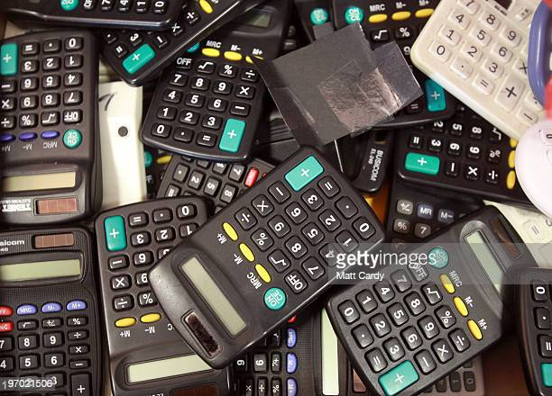 A box of calculators are stored at the Bridge Learning Campus on February 24 2010 in Bristol England The 40million GBP campus in Hartcliffe Bristol...