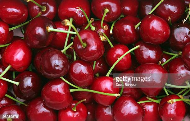 A box of cherries are seen during a cherry pip spitting competition at the launch of the 2009 Victorian Cherry Season at Prahran Market on November...