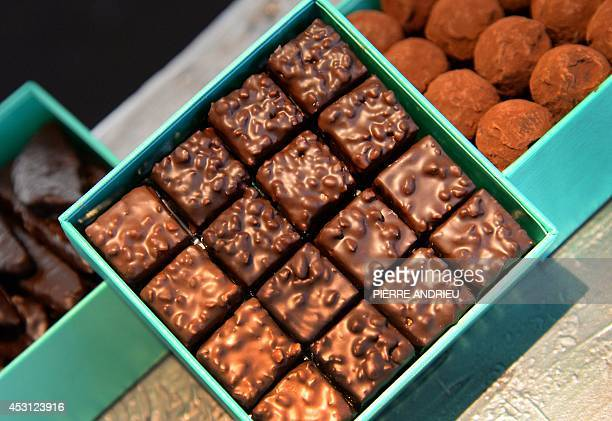 A box of chocolates filled with almond paste made by French chocolate maker Patrick Roger on August 2 in a workshop at Place de la Madeleine in Paris...