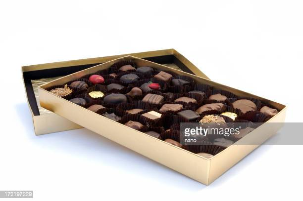 Box of chocolates on top of lid on white background