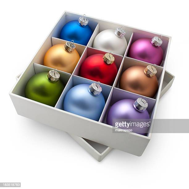 Box of Christmas balls