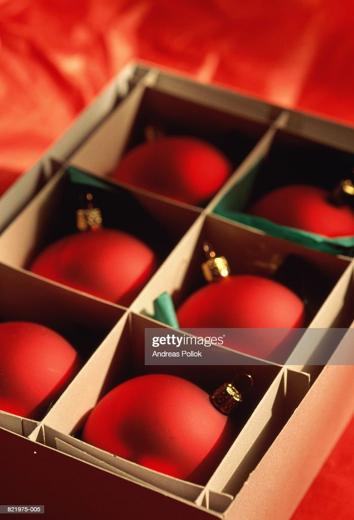 Box of Christmas decorations (baubles), close-up : Stock Photo