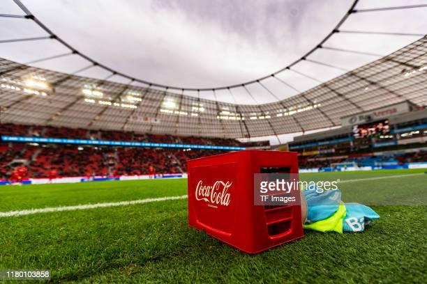Box of Coca-Cola is seen during the Bundesliga match between Bayer 04 Leverkusen and Borussia Moenchengladbach at BayArena on November 2, 2019 in...