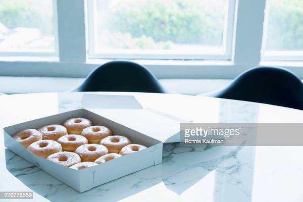 Box of donuts on conference table