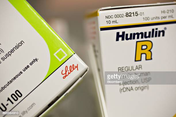 A box of Eli Lilly Co Humulin brand insulin medication is arranged for a photograph at a pharmacy in Princeton Illinois US on Monday Oct 23 2017 Eli...
