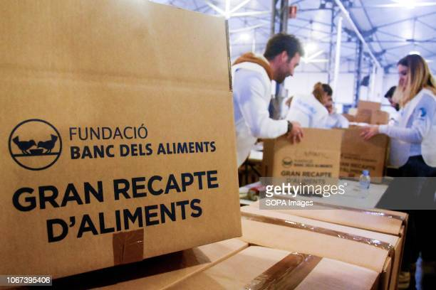Box of food seen at Food Banks in different provinces at a central warehouse of Barcelona Catalonia Spain The food was sorted by type and expiration...