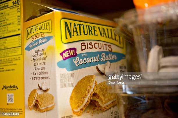 A box of General Mills Inc Nature Valley brand biscuits with coconut butter is arranged for a photograph in Tiskilwa Illinois US on Tuesday Sept 19...